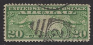 US Stamp #C9 20c Yellow Green  Map of US w/ Two Planes USED SCV $2