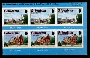 GIBRALTAR QEII SG404a, 1978 booklet pane Nos 404/405 X3, NH MINT.