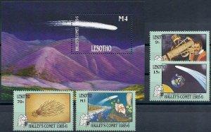 1986 Lesotho Halley´s Comet, Space, Sheet+complete set VF/MNH, CAT 24$
