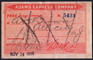Adams Express Company Label: Date Stamped Nov 14, 1898; Used/Faults