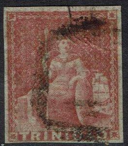 TRINIDAD 1854 BRITANNIA (1D) WHITE PAPER IMPERF USED