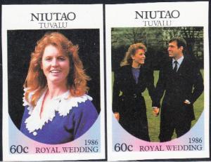 Tuvalu - Niutao #51-52 MNH Imperf Royal Wedding 1986