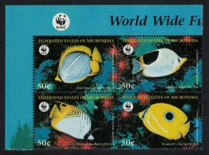 Micronesia WWF Butterflyfishes 4v Block of 4 WWF Logo SG#579-582