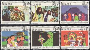 Ecuador 765-765E - Cto - Christmas (Cpl) (1967) (cv $14.95)