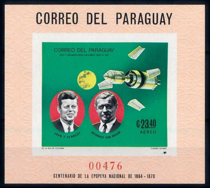 [66062] Paraguay 1969 Space Travel Weltraum Apollo 10 Kennedy Imperf. Sheet MNH