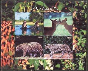 Malawi 2012 Wild Cats Cheetah Hippopotamus Deer's MNH Cinderella !