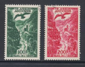 French Andorra Sc C2, C3 used. 1955 Valira River air post stamps