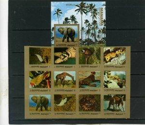 MANAMA 1972 FAUNA ANIMALS SHEET OF 12 STAMPS & S/S MNH