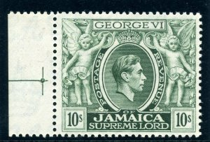 Jamaica 1952 KGVI 10s light myrtle-green (p13) superb MNH. SG 133aa var. CW 22a.