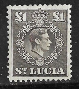 St. Lucia # 126   George VI  £1 value  (1)    Mint  NH