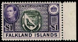FALKLAND ISLANDS SG163, £1 black & violet, NH MINT. Cat £130.