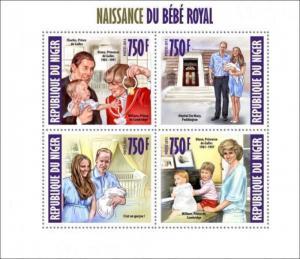 Niger - Prince George, Royal Baby, Diana - 4 Stamp  Sheet 14A-166