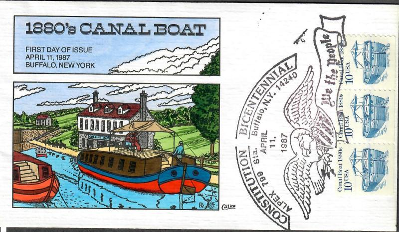 US Collins FDC SC#2252 1880's Canal Boat