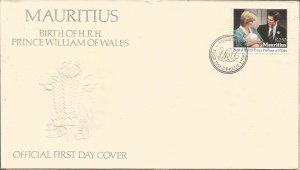 MAURITIUS, 1982, FDC, Birth of Prince William Scott 552