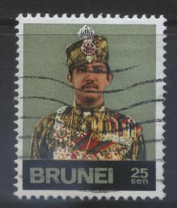 BRUNEI -Scott -200- Sultan Portrait -1974- VFU- Multi -Single 25c Stamp1