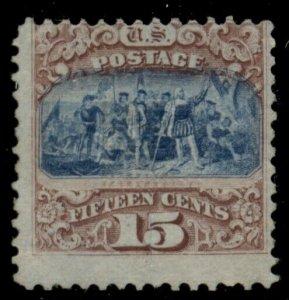 US #118, 15¢ Landing of Columbus, type I, unused no gum, APS certificate