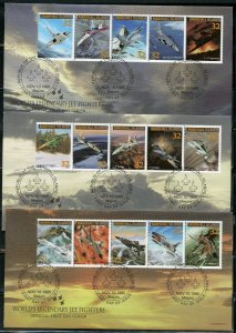MARSHALL ISLANDS 1995  AIRCRAFT OF THE US NAVY SET ON FIVE FIRST DAY COVERS