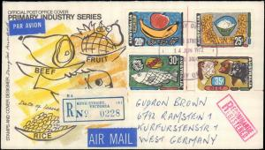AUSTRALIA REGISTERED FIRST DAY FOOD WITH CACHET TO GERMANY #141
