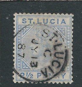 ST LUCIA 1883-86 2½d BLUE TOP LEFT TRIANGLE DETACHED FU SG 33a CAT £200