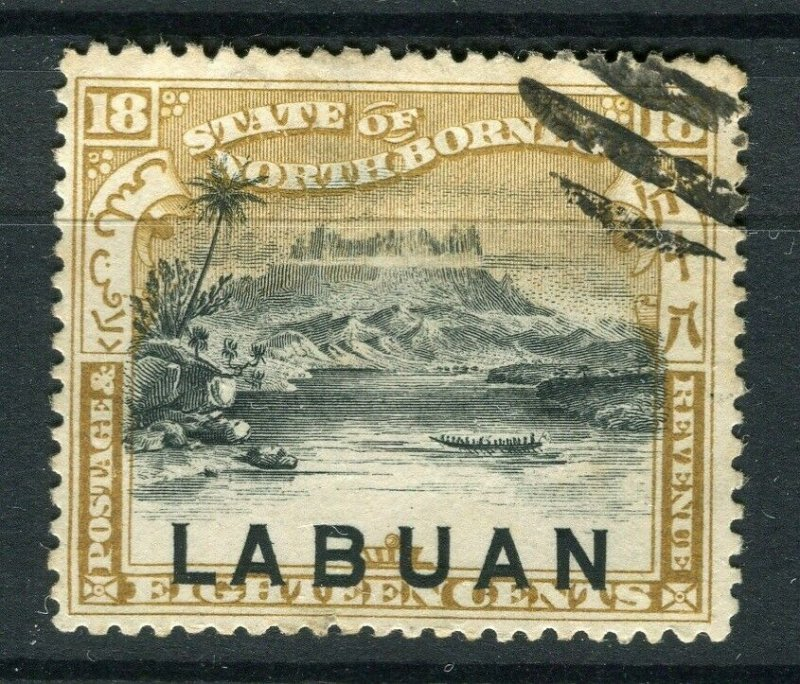 NORTH BORNEO LABUAN; 1890s classic Pictorial issue fine used 18c. value