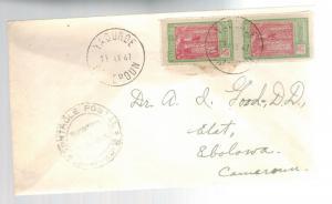 1941 Yaounde Cameroun Censored cover to Ebolowa