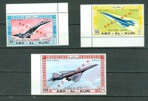 ABD-AL-KURI(YEMEN) 1969 RARE CONCORDE-BOING-TUPOLOV SPECIMEN SET MNH