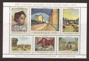Sweden MNH S/S 821 Paintings By Ivan Agueli 1969