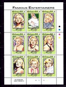 Gambia 1398 MNH 1993 Marilyn Monroe sheet of 9