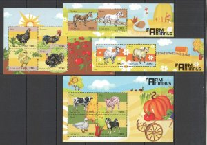 M1511 2014 TANZANIA DOMESTIC & FARM ANIMALS #5168-75 MICHEL 42 EURO 2BL+2KB MNH