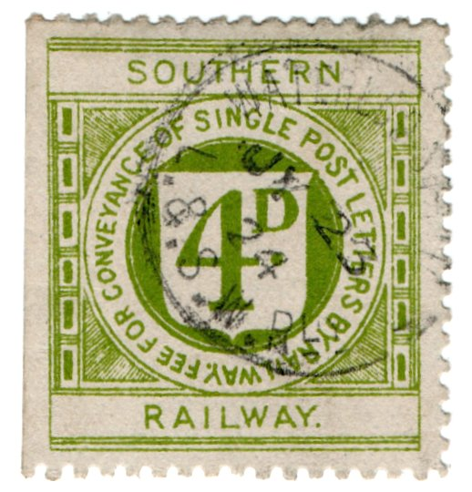 (I.B) Southern Railway : Letter Stamp 4d (Waterloo)