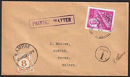 NORTH BORNEO TO PERAK MALAYA 1954 cover with 8c postage due at Kampar......78931