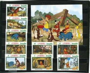ANGUILLA 1982 Sc#511-520 WALT DISNEY CHRISTMAS SET OF 9 STAMPS & S/S MNH