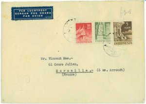 93733 -  INDONESIA  - POSTAL HISTORY -  Airmail COVER to FRANCE 1954