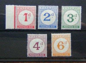 Nyasaland 1950 Postage Due set to 6d Yellow Orange MM SGD1 - SGD5