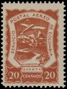 ✔️ COLOMBIA SCADTA 1921 - AIRPLANE OVER RIVER - SC. C28 ** MNH [SC13]