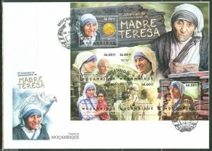 MOZAMBIQUE 2012 15th MEMORIAL ANN MOTHER TERESA SHEET POPE JOHN PAUL II  FDC