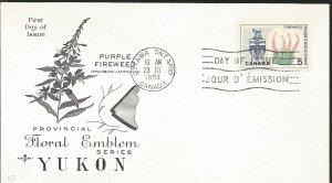 JJ) 1966 CANADA, PURPLE FIREWEED, FLORAL EMBLEM, YUKON, WITH SLOGAN CANCELLATION