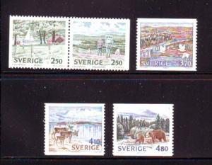 Sweden Sc 1776-80 1990 National Parks stamp set mint NH
