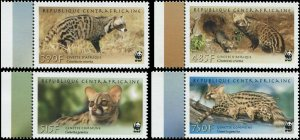 Central African Republic 2007 SC 1512-1515 WWF Cats CV $9