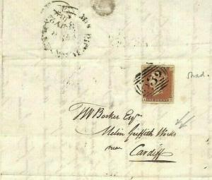 GB WALES Cover Melin Griffith TIN PLATE Works 1844 Monmouth Letter 1d Red MS2338