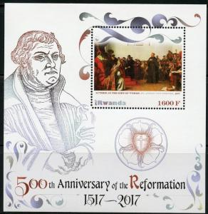 RWANDA 2017 50th ANN OF THE REFORMATION LUTHER AT THE DIET OF WORMS S/S MINT NH