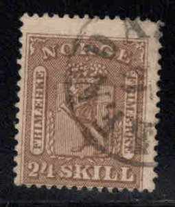Norway Scott 10 Used Coat of Arms, corner thin upper right