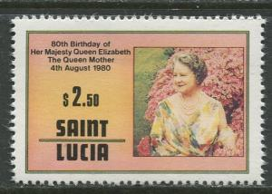 St. Lucia - Scott 502 - Queen Mother -1980 - MNH -Single $2.50c Stamp