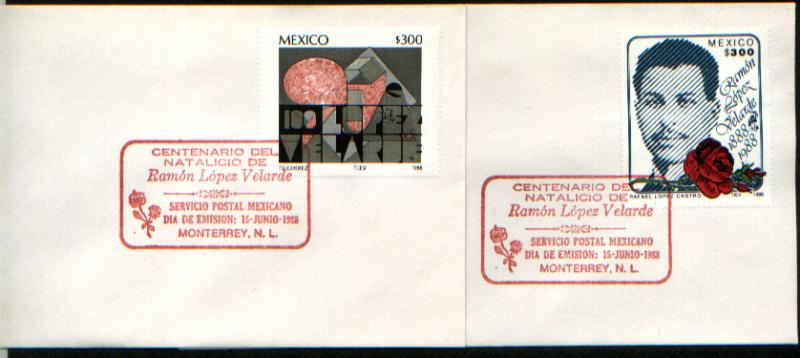 MEXICO 1549-1550, FDC Centenary Birth of Ramon Lopez Velarde, SET OF TWO W/LABEL