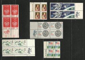 USA Stamps #1313,1318,1321,1326,1332b,1338 Blocks of 4 (Zip Blocks)