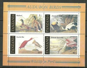 1986 Tanzania 309a  Audubon Bicent. souvenir sheet MNH