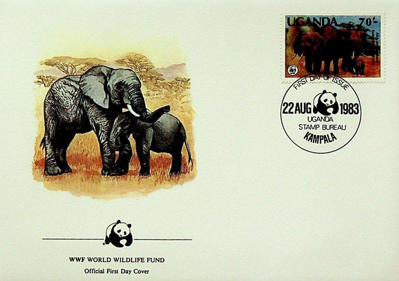 Uganda FDC Elephants WWF 1983