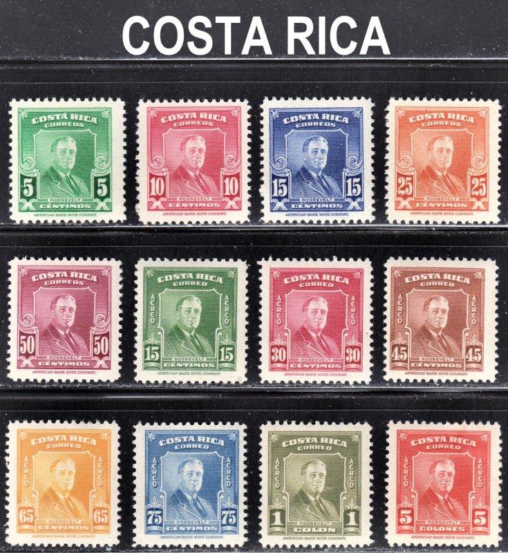 Costa Rica Scott 251-55, C160-65, C167 F to VF mint OG.