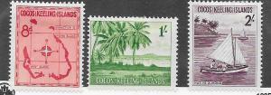 Cocos Islands #3-5  (MH)  CV $17.00