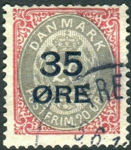 DENMARK- 1912 35 on 20 Ore Grey & Carmine Sg 132 FINE USED  V36663